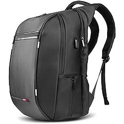 SPARIN Mochila Hombre para Portátil, Backpack para Laptop15.6 17.3 Pulgadas con [Puerto USB] Mochila Negocio [Multifuncional] [Alta capacidad] Negra para Hombre (17,3 Pulgada)
