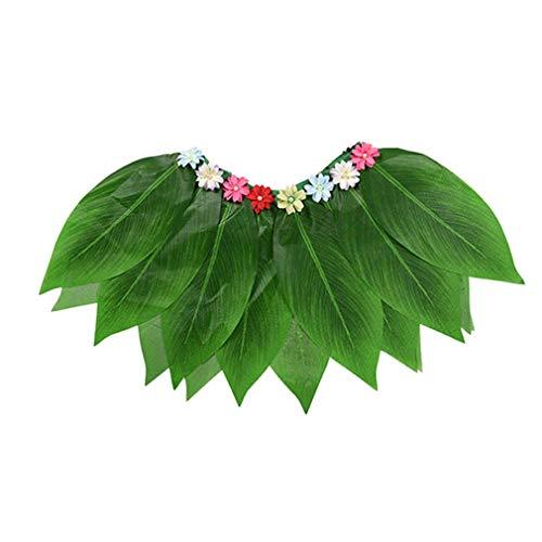 Kostüm Hula Traditionelle - COMVIP® Hawaiianischer Hawaii-Mottoparty Mini Rock Hula-Girl Kostüm Grasrock Blattrock Performance Kostüm M Grün-3