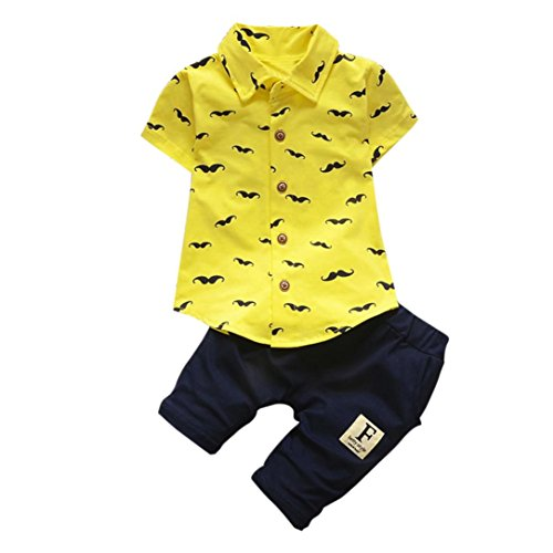 bbelhosen Bekeleideung Sommer Kleidung Neugeborene T-Shirt Tops Hosen Outfits Boy Kinder jungen Tops Hosen 2pcs Bekleidungssets LMMVP (6 Monate-24Monate) (Gelb, 100CM (24Monate)) (Gelbe Spiderman)