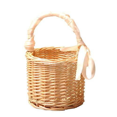 Arvin87Lyly Rattan tragbar Aufbewahrungskorb Stroh Blume Korb Wicker Picknickkorb Früchtekorb Geschenkkorb Präsentkorb, Exquisite und elegant