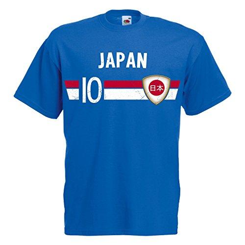 Fußball WM T-Shirt Fan Artikel Nummer 10 - Weltmeisterschaft 2018 - Länder Trikot Jersey Herren Damen Kinder Japan Nippon M