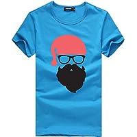 Camiseta de Manga Corta con Estampado navideño para Hombre y Mujer Navidad Unisex Imprimiendo Tops Pullover Blusa Múltiples Estilos Gusspower