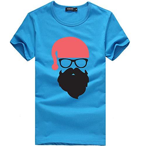 Zylione Herren T-Shirt Weihnachtsmann Männer Weihnachten Drucken Kurzarm T-Shirt Bluse Fun Shirt Freizeit X-Mas Tops Lässiger Oberteile Bluse