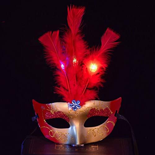 LMCLJJ Maskerade Maske für Frauen Paar Maskerade Metall Masken venezianischen Halloween Kostüm Maske Karneval Maske Flower Feather Lace Up Maske (Color : Red) (Erwachsene Halloween-kostüm Flower)