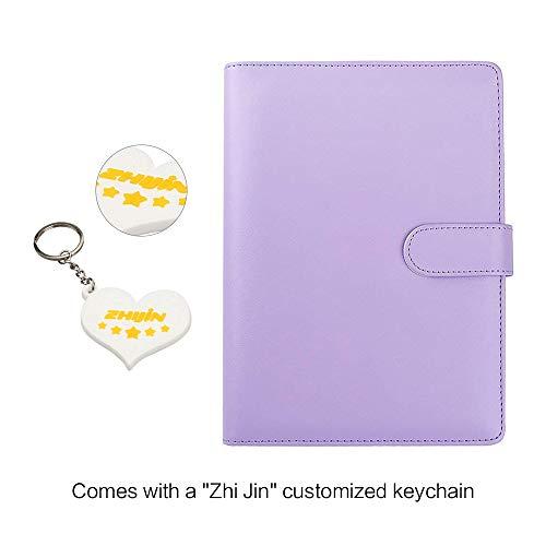 Zhi Jin, raccoglitore ricaricabile con inserti, adatto per quaderni e taccuini. Formato: A5. Con portapenne Violet