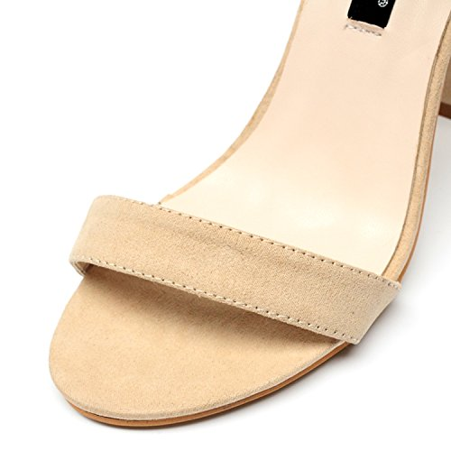 cooshional Damen Sandalen mit Absatz Mehrschicht-Ankle-Strap Peep Toe High Heels Aprikose