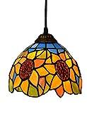 ZYear 8 Zoll Orange Sonnenblume Blume Kunst Kronleuchter mit Glasmalerei Schatten für Shop Dekoration Bar KTV Schlafzimmer Küche Ecke Pendelleuchte