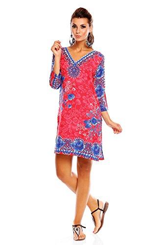 Looking caftano glam da donna con stampa tribale, tunica per l'estate, taglie dalla 42 alla 50 Pink 19071