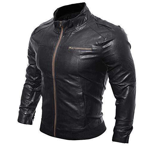 CICIYONER Männer Leder Jacket, Herren Herbst Winter Beiläufig Motorrad Faux Leder Jacke Outwear...