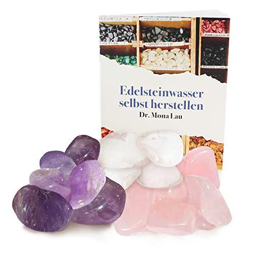 250 Gramm Edelsteine zur Herstellung von Edelsteinwasser plus Booklet und Jutebeutel I Set aus Trommelsteinen Rosenquarz, Amethyst und Bergkristall I 100% Natürliche Heilsteine -