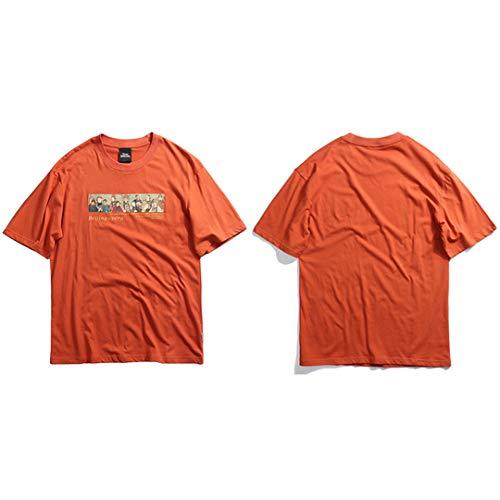 Männer T-Shirt Hip Hop Sommer Streetwear Beijing Opera Gedruckt Baumwolle Tops Tees Chinesische Traditionelle Kleidung Coral Orange XL -
