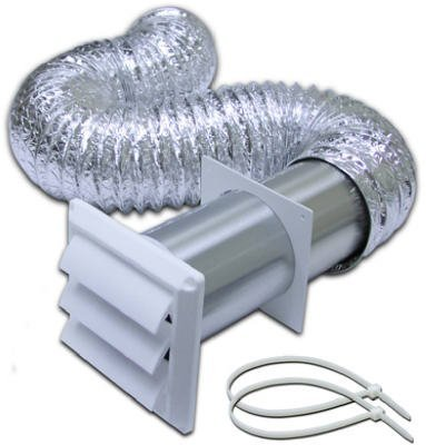 LAMBRO INDUSTRIES - 4-Inch x 8-Ft. White Louvered Hood Vent Kit (Hood Vent Louvered)