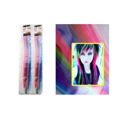 4 PC Hair Feather Extensions 18 Clip On Long Color Synthetic Neon Rainbow Curl by (Extensions Hair Neon)