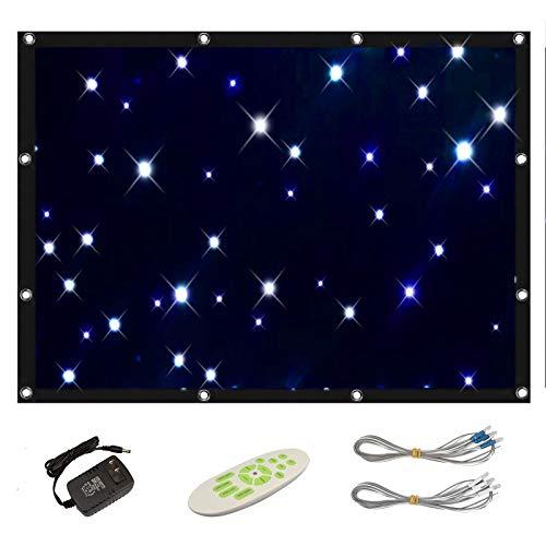 Blau weiße Sternenvorhang LED Stoff DJ Bühne Hintergrund Fernbedienung, spleißbar, 9 Arbeitsmodi, 56 LEDs, faltbar für Kinder, Weihnachten, Geburtstagsfeier