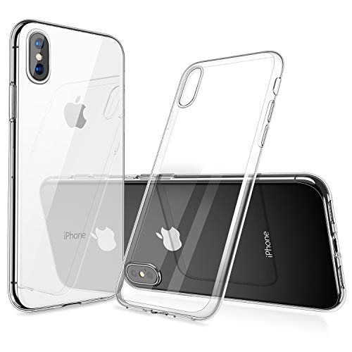 humixx iPhone XS Hülle, iPhone X Hülle, Silikon TPU Hochwertigem Stoßfest, Anti-Fingerabdruck, Anti-Scratch Hülle Crystal Clear Weich Soft Case für iPhone X/XS (Transparent)