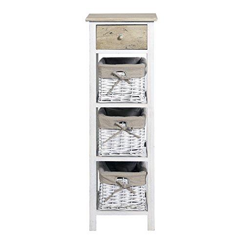 Rebecca srl mobile bagno cassettiera 4 cassetti ceste country legno chiaro vimini bianco vintage camera da letto (cod. re4359)