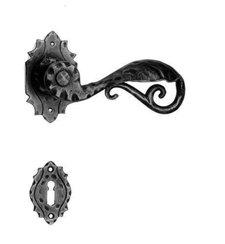 Gedotec Türgriff Türbeschlag Antik Schmiedeeisen auf Oval-Rosette | Drücker-Garnitur schwarz - TRIEST-15 | Türklinke handgefertigt | für Innen & Außen | 1 Garnitur inkl. Befestigungsmaterial