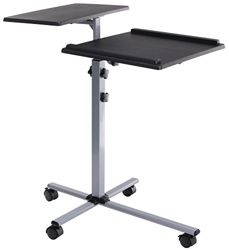 Pronomic PT-2 Beamer- und Projektorwagen Beamertisch, Rollwagen Medienwagen für Video-, Dia-, Overhead-Projektoren, Laptoptisch, Notebooktisch (höhenverstellbar, Ablageflächen) schwarz - Beamer Stand-wagen