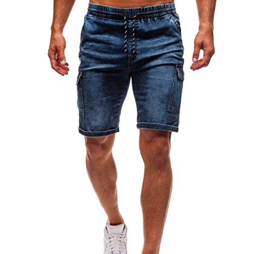 Pantaloncini jeans da uomo elasticizzati da uomo estivo sciolto gamba a tubo denim jeans spiaggia pantaloni corti bermuda pantaloncini