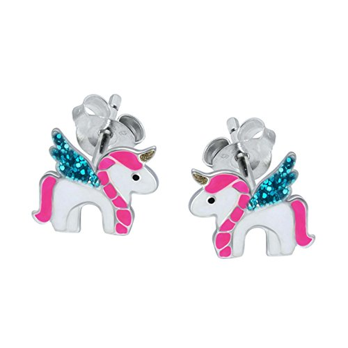 SL-Silver - Pendientes, plata 925, diseño con forma de unicornio, en caja de regalo