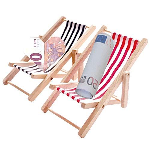 Bullout Miniatur Liegestuhl Deko - 2 Stück 1:12 Holz Miniliegestuhl Strandkorb - Kleiner Strandstuhl für DIY Fee, Puppenhaus Garten, Strand-Mikrolandschaft, Mini Möbel Modell Zubehör mit Rot/Schwarz