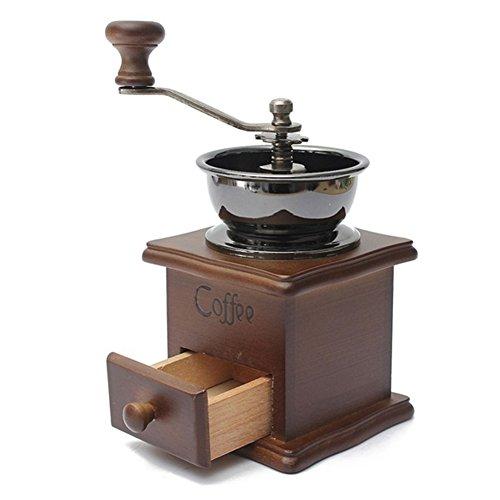 Mini manuelle Kaffeemühle - Weinlese-Art-hölzerne Handkurbel-Kaffeemühle & Kaffeebohnen Gewürzmühle mit Schublade - Travel Office Home Bar Kaffeemaschine(wie gezeigt)