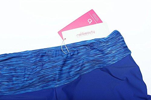 ReliBeauty Damen Geblümt Muster Taille Kurze Boyshorts Schwimmhose Verstellbare Kordel Bände Badeshorts Blau