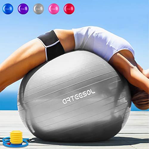 arteesol Gymnastikball 65cm / 75 cm inkl. Pumpe Anti-Burst Sitzball für Yoga Pilates Fitness Physiotherapie (5 Farben) (Silber, 55cm)