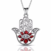 "EUDORA 925 Sterling Silver Hamsa Hand Necklace Pendants for Women""Evil Eyes"" Gifts for Her 18"" Red"