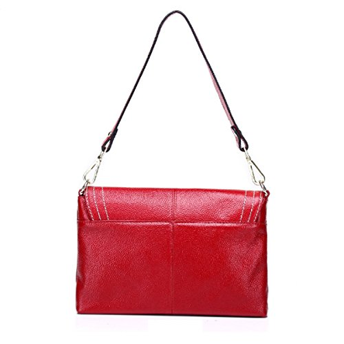 Damen-Mode Schultertasche Leder Messenger Bag Redwine