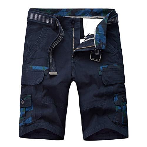 sunnymi  ® Herren Tarnen Hose Mode Baumwolle Tasche Feste Arbeitshose Cargo Kurze Hosen -