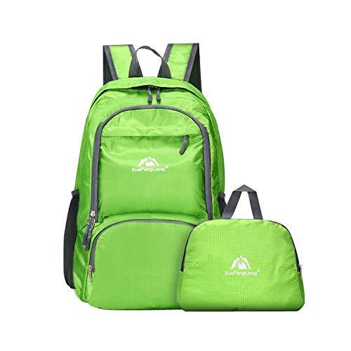 Hipier Zaino Pieghevole Impermeabile Donna 30 l Zainetto Leggero Uomo Sportivo Daypack Ultraleggero per Viaggio Trekking Escursionismo Campeggio (Verde)