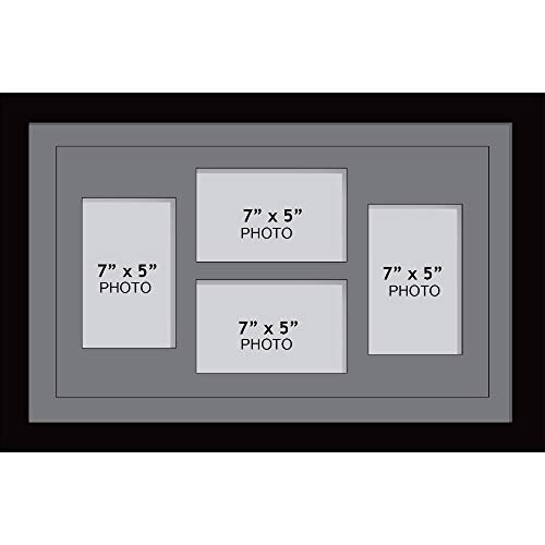 Large multi picture photo aperture frame, 17.78cm x 12.7cm size with 4 openings in grey mount, choices of frames