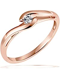 Goldmaid Damen-Ring Solitär Verlobungsring 585 Rotgold 1 Brillant 0,08 ct.
