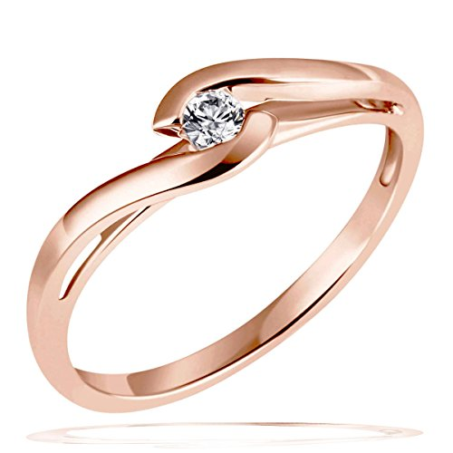 Goldmaid Damen-Ring Solitär Verlobungsring 585 Rotgold 1 Brillant 0,08 ct. Gr. 54