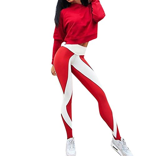 Legging Sport Femme Pantalon Taille Haute Skinny Yoga Gym Fitness Running Sport Chic SANFASHION(38FR, Rouge NX022)