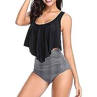 DEELIN Bikini Deportivo Mujer,Moda Sexy Estampado Bohemio Femenina De Dos Piezas MáS El TamañO Sexy Sin Espalda Halter Floral Impreso Traje De BañO Conjunto