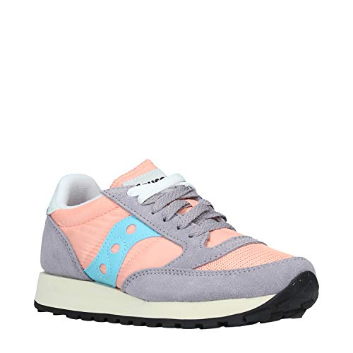 Saucony Jazz Original Vintage S60368-71 Leather Textile Synthetic Womens Trainers - Peach Grey Blue - 40