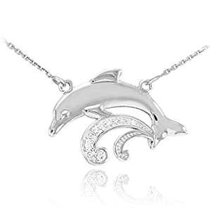 Sea Life Collection Womens 925 Sterling Silver 3-Stone CZ Jumping Dolphin Pendant Necklace