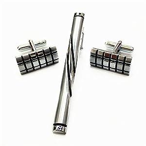 HONG-Accessories Herren Manschettenknöpfe Krawattenklammer Set Zubehör