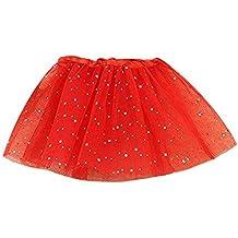 Koly Vestido de fiesta de la princesa con Brillos de Ballet para Niñas (Rojo)