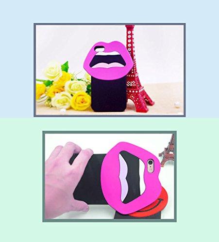 Sunroyal Funny Auge Cartoon Silikon Schutz Series 3D Cute Lovely Cartoon Auge Soft Rubber Silicone Back Shell Weichem Silikon Schutz Gel Zurück Hülle Case Cover für iPhone 5 5G 5S SE 5SE, Schwarz Mund