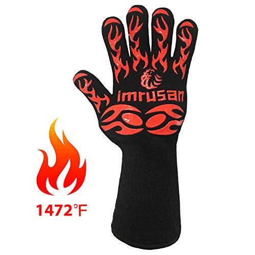 imrusan Grillhandschuhe bis zu 1472°F(800°C), Mit EN407 Zertifizierung, Ofenhandschuhe Hitzebeständig mit Unterarmschutz, Topfhandschuhe rutschfeste mit Silikon, Kochhandschuhe Hitzeschutzhandschuhe