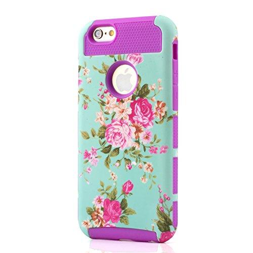 iPhone 6s Plus Coque 2 in 1 Silicone TPU Bumper + PC Protection, Antichoc, Incassable, Ultra Resistante Case Pour iPhone 6s Plus / iPhone 6 Plus (Blanc) Pourpre