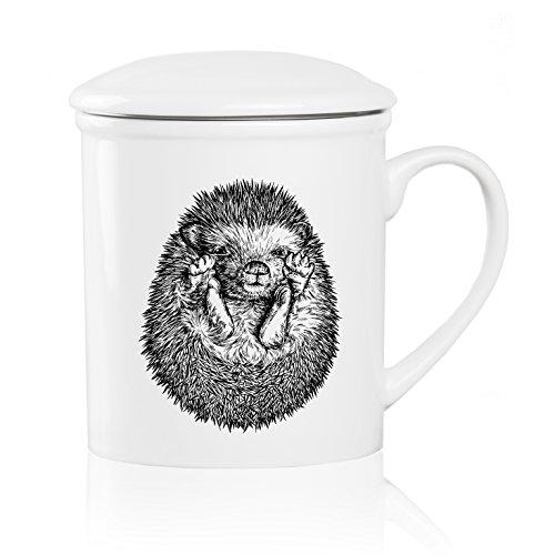We Love Home - Tasse à thé en porcelaine avec infuseur en acier inoxydable + couvercle 25 cl. style scandinave design Hedgehog