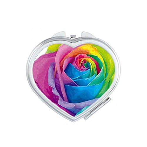 DIYthinker LGBT - Espejo de Bolsillo para Maquillaje con Diseño de Gay Arcoíris y Gay, Diseño de Flores, Color Beige