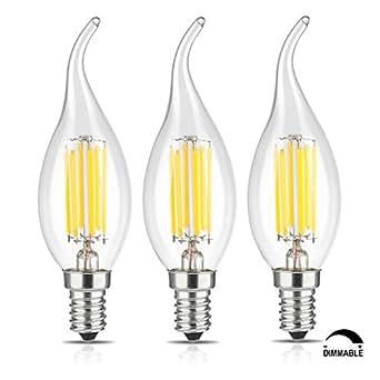 tamaykim 6w led filament candle light bulb 4000k neutral white 600lm e14 ca. Black Bedroom Furniture Sets. Home Design Ideas