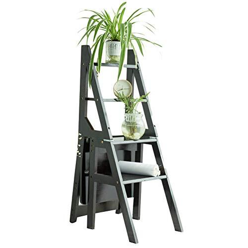 QQXX Klappstuhl Retro Bamboo Faltbare Multifunktions rutschfeste Kletter Notwendigkeit zu installieren, 4 Stufenleiter, 3 Farben Dual-Use (Farbe: Schwarz)