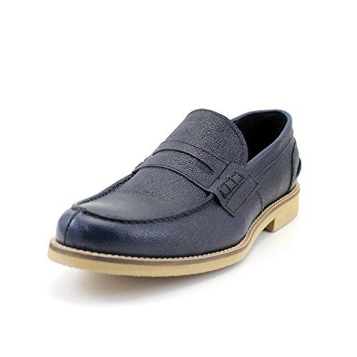 GIORGIO REA Chaussures Homme Main Mâle en Italie, Mocassins Décontractés, Bleu, Clair, Confortable en Cuir Véritable