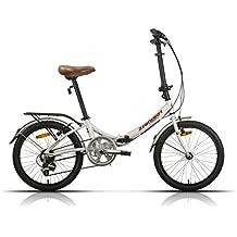 Megamo Zambra Bicicleta Plegable de Paseo, Unisex Adulto, Blanco, M